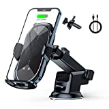 Wireless Car Charger Mount Auto-Clamping - FLYAMAPIRIT 10W Qi Fast Charging Air Vent Car Phone Holder Compatible with iPhone 12/pro max/Samsung S20/Note 20 All 4.7-6.7 Inch Phone (Black)