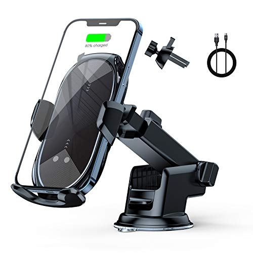 Wireless Car Charger Mount Auto-Clamping - FLYAMAPIRIT 10W Qi Fast Charging Car Phone Holder Air Vent Car Phone Mount Compatible with iPhone12/12 pro max/Samsung S20/note 20 All 4.7-6.7 Inch Phone