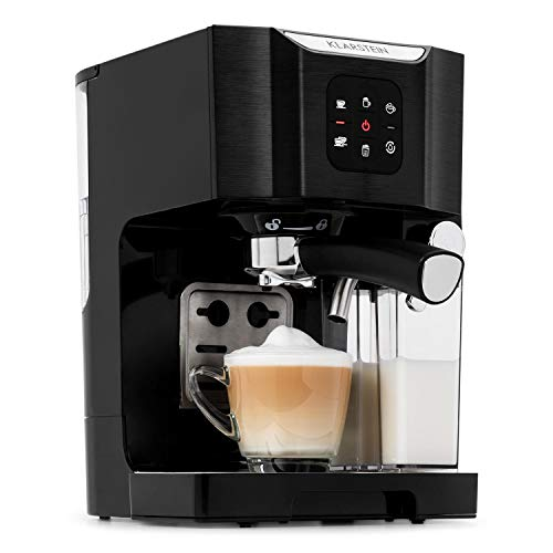 Klarstein BellaVita Coffee Machine with Self-Cleaning System, 3-in-1 Function for Espresso, Cappuccino and Latte Macchiato, 20-Bar Pump Pressure, 1450 W, 1.4L Water Tank, Removable Drip Tray, Black