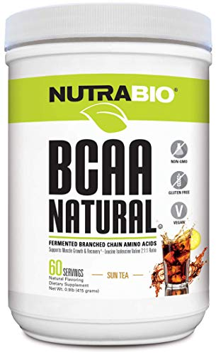 NutraBio BCAA 5000 Powder - Fermented Branched Chain Amino Acids for Muscle Growth & Recovery - Natural Flavors, Sweeteners, and Coloring, Vegan, Gluten Free - Sun Tea, 60 Servings
