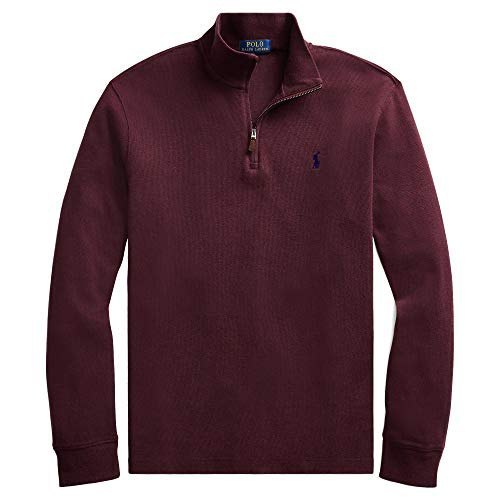Polo Ralph Lauren Men Half Zip French Rib Cotton Sweater (L, AgedWineHtr)