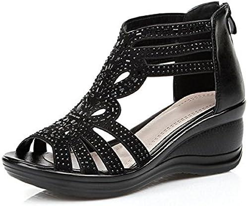 DANDANJIE DANDANJIE DANDANJIE Frauen Sandale Leder Keilabsatz Breathable Sandalen Schuhe für Damen Mama Dame mittleren Alters (Farbe   Schwarz Größe   37)  60% Rabatt
