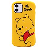 MC Fashion iPhone 12 Case, iPhone 12 Pro Case, Cute 3D Cartoon Bee Bear Winnie The Pooh Fun Case, Full-Body Protective Soft Silicone Case for iPhone 12/12 Pro 6.1 inch 2020