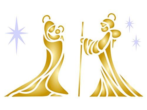 Mary Joseph Jesus Schablone, wiederverwendbar, Weihnachtskrippe für DIY Karten Dekorationen Projekten–Vorlage, auf Papier Scrapbook Bullet Tagebuch Wände Böden Stoff Möbel Glas Holz usw. m