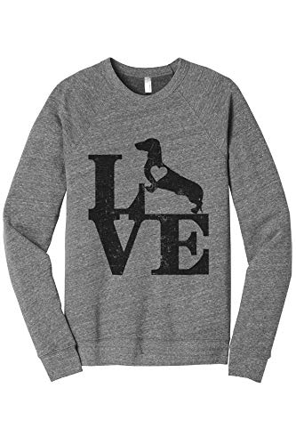 Thread Tank Love Dachshund Dog Women's Cozy Relaxed Fit Fleece Longsleeve Sweater Large Heather Grey