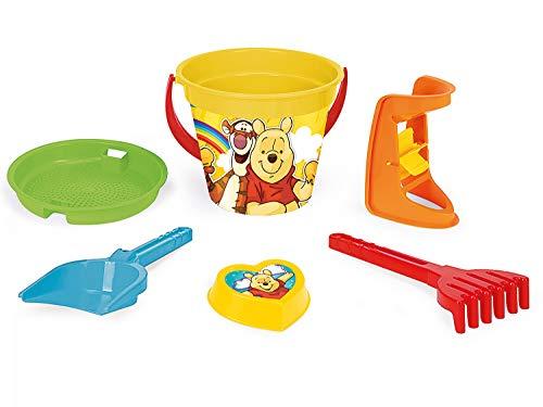 Wader 77137 Eimergarnitur Disney Winnie Pooh mit Eimer, Sieb, Sandmühle, Schaufel, Rechen und Sandform, 6 teilig, bunt