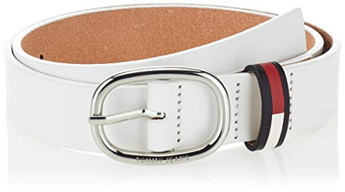 Tommy Hilfiger Damen Tjw Oval Flag Inlay Belt 3.0 , White, 85