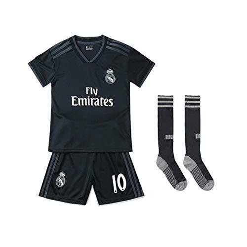 PAOFU-Conjunto de Jersey de Fútbol para Niños Real Madrid Away (Luka Modric 10),Negro,30