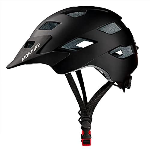 SUNRIMOON Mountain Bike Helmet, Adult Bicycle Helmet, MTB Cycle Helmet with USB Rear Light and Detachable Visor Lightweight Adjustable Helmets for Adults Men Women,Black