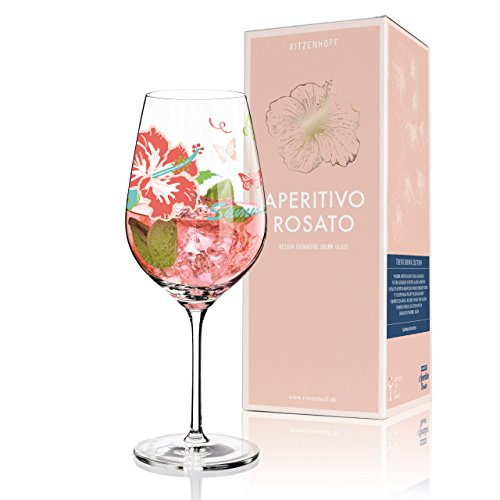 RITZENHOFF Aperitivo Rosato Aperitifglas von Michaela Koch, aus Kristallglas, 600 ml, mit trendigen Dekoren