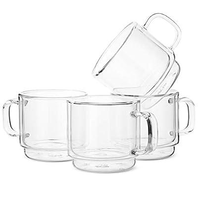 BTaT- Stackable Insulated Coffee Mugs, Glass Tea Mugs, Set of 4 (12 oz, 350 ml), Double Wall Glass Coffee Cups, Tea Cups, Latte Cups, Beer Glasses, Latte Mug, Clear Mugs, Glass Cappuccino Cups