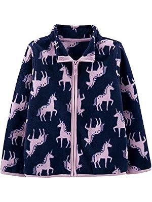 Simple Joys by Carter's Girls' Toddler Full-Zip Fleece Jacket, Unicorns, 5T