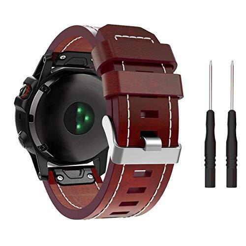TOPsic Fenix 5X Armband, leren horlogebandje 26mm reserveband QuickFit armband voor Fenix 5X/Fenix 5X Plus/Fenix 3/Fenix 3 HR/Fenix 6X/Fenix 6X Pro, bruin