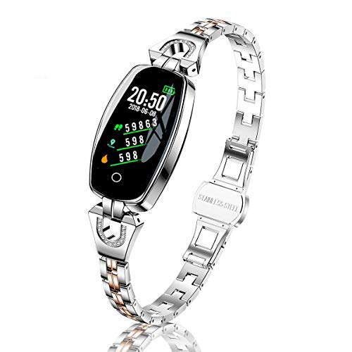 DANUO Fitness Tracker, Activity Tracker with Heart Rate Monitor, Pedometer Watch with Sleep Monitor, Step Calorie Counter, IP68 Waterproof Smart Bracelet for Women and Men (Silver)