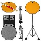 Topnaca Drum Practice Pad Kit, Pad Per Allenamento Batteria per Esercitarsi con Stand Set Rullante, 12 Pollici Drum Pad Pratica in Muto con Bacchette del Tamburo Borsa per il Trasporto