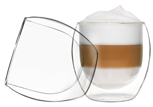 Lot de 2 verres à cappuccino isothermes à double paroi Jumbo de 310 ml avec effet flottant, également pour latte macchiato, thé, cocktails, glaces, eau, jus, cola, desserts etc. Compatible avec les modèles DUOS by Feelino