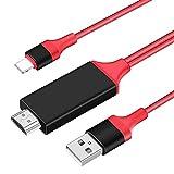 【2021最新 設定不要】HDMIケーブル phone hdmi変換ケーブル1.8m Digital AV変換アダプタ Phone/タブレットをテレビ出力 ライトニング HDMI接続ケーブル OS11、12、13、14 YouTube TV出力 高画質 (RED, HDMI)