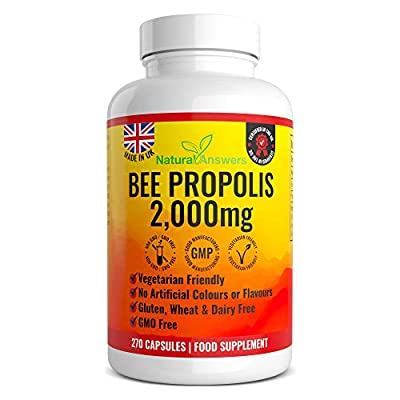 Bee Propolis Capsules 270 Vegetarian Capsules 135 Servings 100% - Bees Propolis Propoli Pure Propolis Natural Antibiotic - Made in The UK by Natural Answers