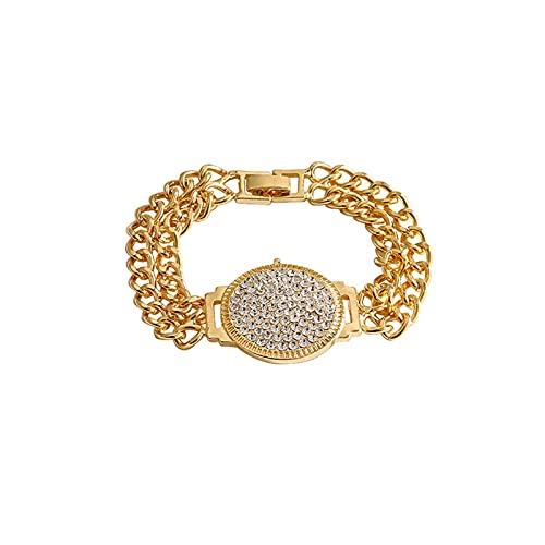 Pulsera para mujer, diseño retro, con esfera de diamantes, pulsera de diseño, pulsera de hip-hop con personalidad de múltiples capas para mujer, regalo de joyería