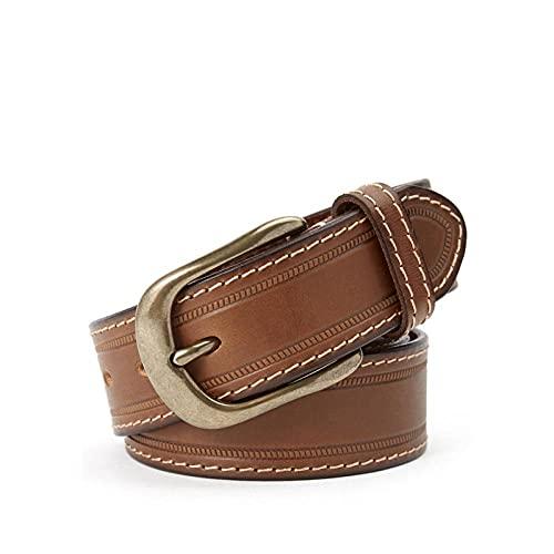 MIKUAP Cinturón De Hombre Con Hebilla De Cobre Para Hombre Cinturón De Hilo Grueso Camel 3.5X115Cm