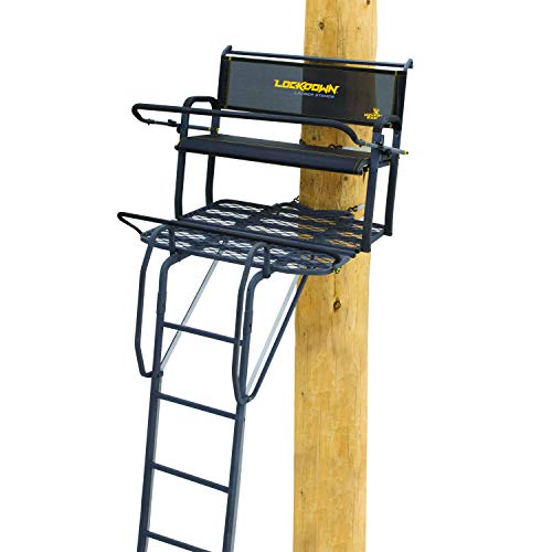"""Rivers Edge Lockdown LD203 2-Man Ladder Tree Stand, 17' Height with TearTuff Bench seat, Flip-Back Padded Shooting Rail, Wide 42"""" Platform, Removable Ultimate Shooting Rail, Flip-Out Footrest, 3rd La"""