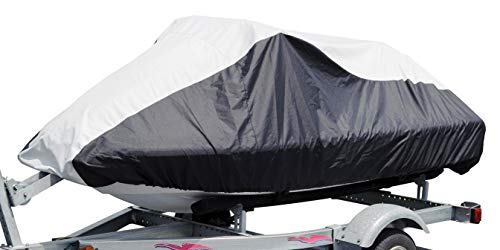 Budge Deluxe Jet Ski Cover Fits Jet Skis 121' to 135' Long x 36.75' Wide, Black/Gray (BA231212015)