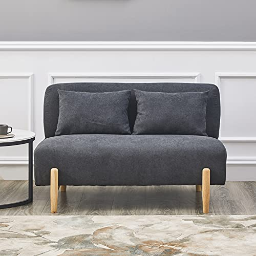 OFCASA 2 Seaters Sofa Grey Fabric Upholstered Padded 2 Pillow Double Seat Couch Wooden Legs for Corner Living Room Bedroom Lounge 110cm