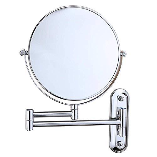 DHOUTDOORS Espejo de Baño Ampliación 3X Normal Doble Cara 8 Pulgadas Muro Redondo Vanidad Maquillaje Espejo Giratorio Extensible Cromo Acabado