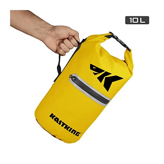 Kastking cyclone seal dry bag - 100% waterproof bag with phone case front zippered pocket, perfect for beach, fishing, kayaking, boating, hiking, camping, biking, skiing 6 durable construction dry bag - designed for active water sports and dusty environments the kastking cyclone seal dry bag is rugged, flexible, and abrasion resistant. A super strong and abrasion resistant 500d pvc construction with precision ultrasonic welded seams provide a superior seal to prevent water intrusion. Provides a complete waterproof bag system for any environment. Perfect for fishing, camping, kayaking, hiking, beach, boating waterproof protection – the kastking cyclone dry bag seal system provides an extra layer of pvc to ensure a best-in-class waterproof seal on a dry storage bag. Gives you total piece of mind to protect your valuable items from getting wet. Also has special splash-proof outer zipper pocket. Heavy duty - tough, resilient spider buckle will not fatigue and break. Heavy duty self-locking clips will hold oversize loads. Cyclone waterproof bag buckles and clips are made of heavy-duty nylon and will not rust in any wet conditions. Reinforced strap attachment points.
