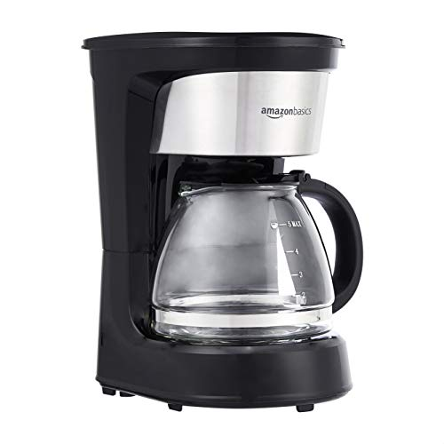 Amazon Basics 5-Cup Coffee Maker with Reusable Filter, Black and Stainless Steel
