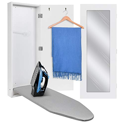 Ivation Wall-Mounted Ironing Board Cabinet, Foldable Ironing Storage Station for Home, Apartment & Small Spaces, Easy-Release Lever, with Miror Door, White