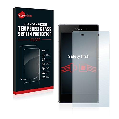 savvies Cristal Templado Compatible con Sony Xperia Z1 C6943 Protector Pantalla Vidrio Proteccion 9H Pelicula Anti-Huellas