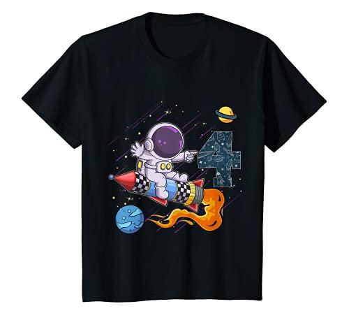 Niños 4th Birthday Boy Astronaut Space Exploration 4 Años Camiseta