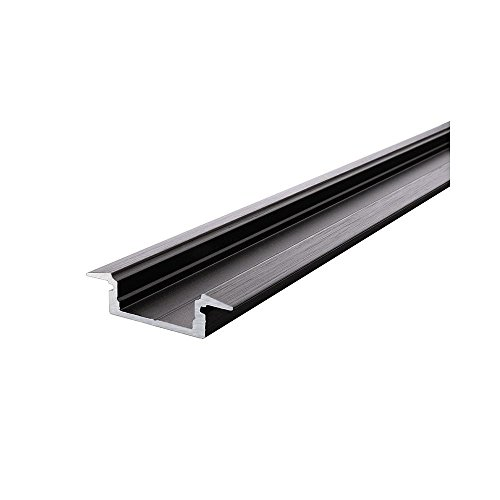 et-Profil 01–12, Plat T pour 12–13,3 mm LED Stripes, 1000 mm Noir Mat brossé