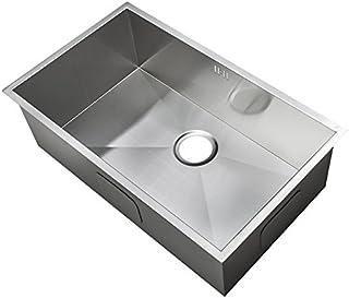 XL groß Handgefertigtes Nullradius eckiges Küchen Spülbecken für den Unterbau. Gebürstete Edelstahl Unterbauspüle DS008