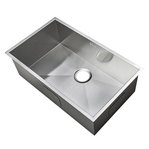 XL groß Handgefertigtes Nullradius eckiges Küchen Spülbecken für den Unterbau. Gebürstete Edelstahl Unterbauspüle (DS008)