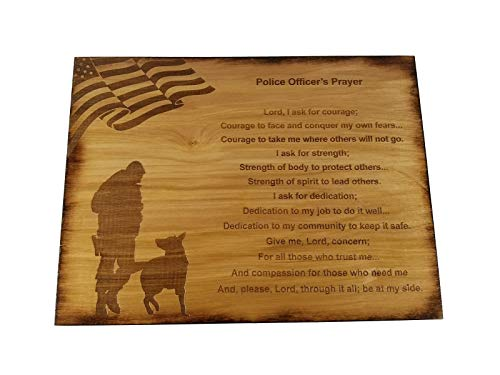 Police Officer Prayer Wall decor with American Flag and Police K9 Silhouette - 8.5' x 11.5' Oak Stained Sign