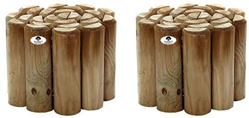Ruddings Wood Pack of 2 x 6' High Log Rolls Wooden Border Garden Lawn Edging
