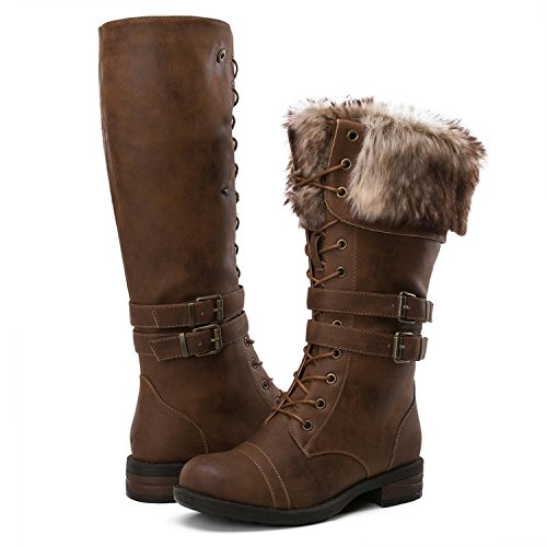 GLOBALWIN Women's Military Style Brown Knee High Combat Boots 8M