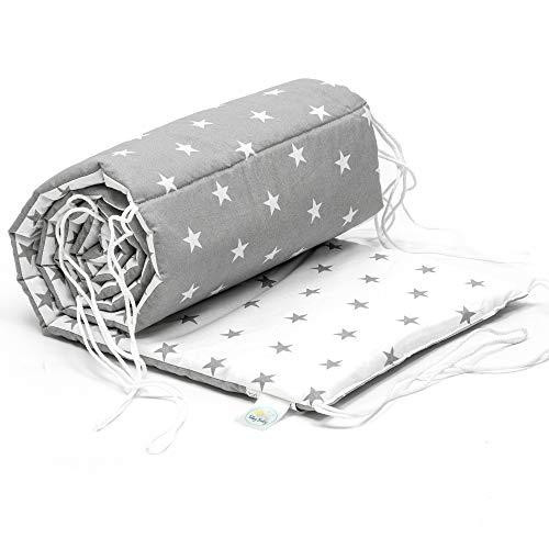 Nestchen Babybett 70x140 umrandungen - baby-bettumrandung Bettnestchen für Kinderbett Beistellbett Gitterbett umrandung (180 x 30 cm, weiß-grau mit Sternen)