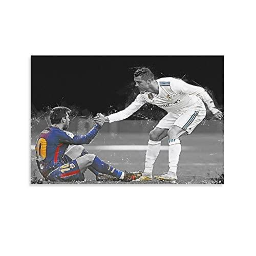 Marco de fotos de fútbol negro Messi Barcelona Cristiano Ronaldo Real Madrid, lienzo de regalo, póster y arte de la pared, impresión moderna para dormitorio familiar de 50 x 75 cm