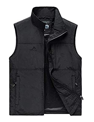 Hixiaohe Men's Causal Lightweight Outdoor Vest Fishing Travel Photo Safari Vest (Black,L)