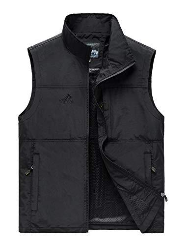 Hixiaohe Men's Causal Lightweight Outdoor Vest Fishing Travel Photo Safari Vest (Black,XL)