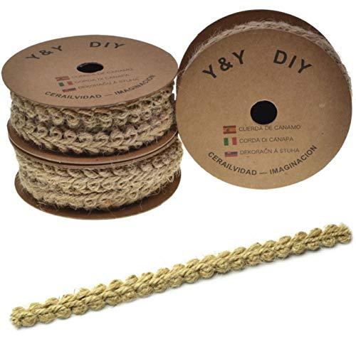 6m Cinta antigua Cuerda de lino Cinta de arpillera de encaje Encaje Antiguo Cuerda de cáñamo Cinta de artesanía Oficio del arte Correas de cáñamo