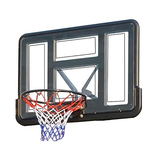 Canasta Tableros de Baloncesto Montado en la Pared Soporte de Baloncesto Respaldo, Aro de Hierro Macizo Equipo de Baloncesto por Interior Exterior Deportes, 43.3 × 29.5 Pulgadas
