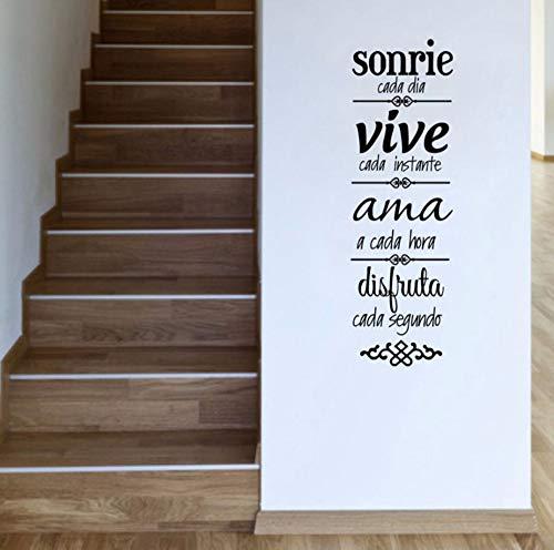 Zjxxm Spanische Hausordnung Wandaufkleber Dekoration, Spanische Version Normas De Casa Vinilos Decorativos 90 * 28Cm