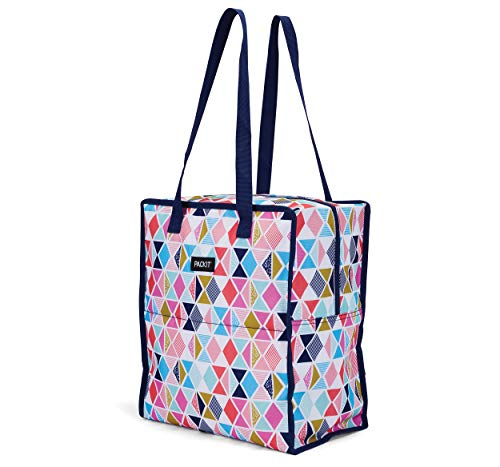 PackIt Freezable Grocery Shopping Bag with Zip Closure, Festive Gem