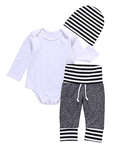Baby Jungen Kinder Baumwolle Langarm Body Strampler + Hosen + Hut Outfits Kleidung (0-6monate, Weiß)
