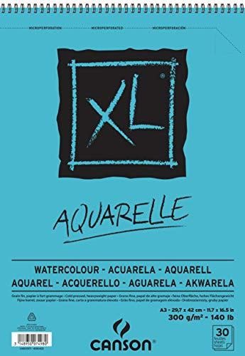 CANSON XL Aquarelle C400039171: Aquarellpapier - Malblock/Zeichenblock für Aquarell in DIN A3 - Aquarellblock für Wasserfarben, Aquarellstifte & Tusche - weiß & feinkörnig