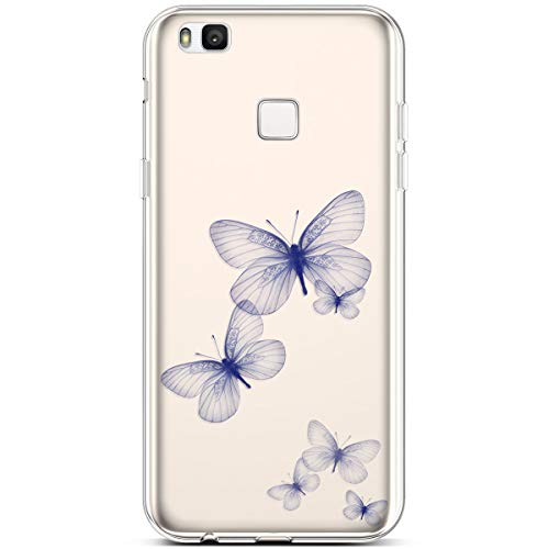 Jinghuash Compatibel met Huawei P9 Lite Case Transparant Siliconen met patroon vlinder